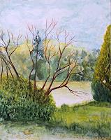 ALEX-BECK-Landschaft-See-Meer-Pflanzen-Baeume-Neuzeit-Realismus