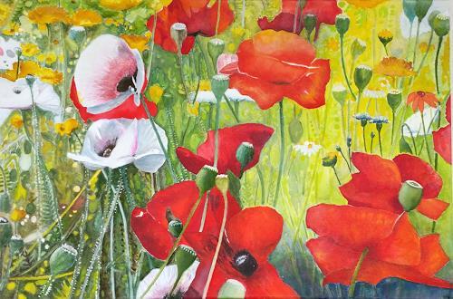 ALEX BECK, Poppy meadow, Pflanzen: Blumen, Gefühle: Freude, Realismus, Expressionismus