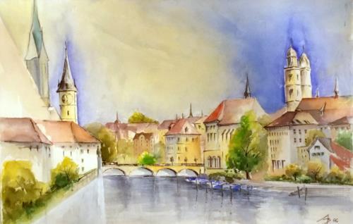 ALEX BECK, Zuerich Town, Architektur, Wohnen: Stadt, Realismus