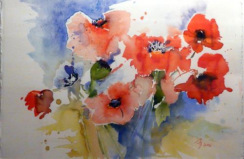 ALEX BECK, Mohnblumenstrauss, Pflanzen: Blumen, Fantasie