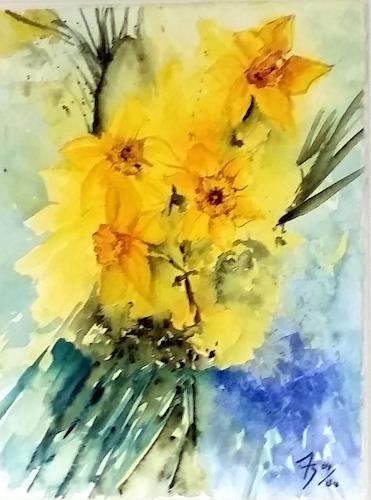 ALEX BECK, Osterglocken Gesteck, Pflanzen: Blumen, Natur, Realismus