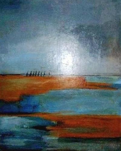 Marion Eßling, Horizonte 2 Die Weite der Landschaft, Abstraktes, Landschaft: See/Meer, Abstrakter Expressionismus