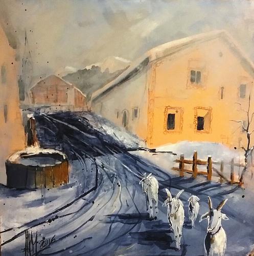 Hans-Peter Amherd, Bündner Dorf, Landschaft: Winter, Tiere: Land, Gegenwartskunst