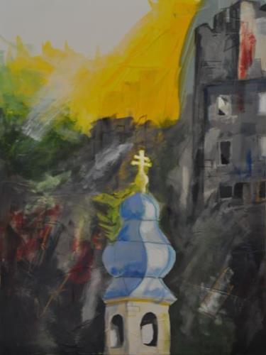 Barbara Ofner, Blick auf Baden, Landschaft, Dekoratives, Gegenwartskunst