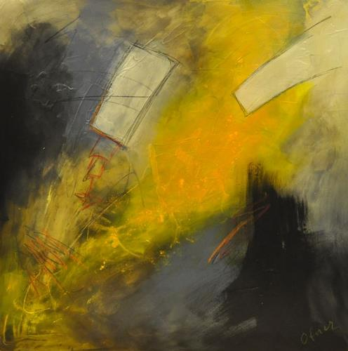 Barbara Ofner, Gelbe Kraft, Abstraktes, Dekoratives, Abstrakte Kunst, Expressionismus