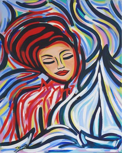 Damaris Dorawa, Starry Night, Menschen: Frau, Landschaft: See/Meer, Pop-Art