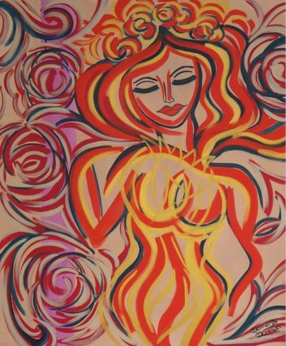 Damaris Dorawa, Red Passion, Menschen: Frau, Pop-Art, Expressionismus