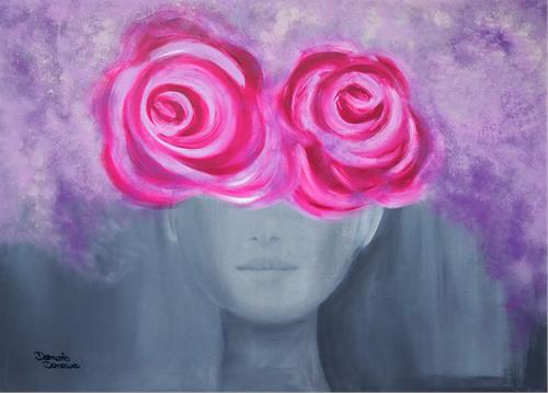 Damaris Dorawa, Secrets, Menschen: Frau, Pflanzen: Blumen, Pop-Art, Abstrakter Expressionismus