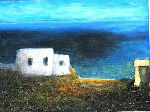 Heidi Schröder, Sommer in Griechenland, Landschaft, Abstrakte Kunst