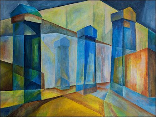 Udo Greiner, Die Wand - Kaukasus V, Landschaft, Bauten, Expressionismus