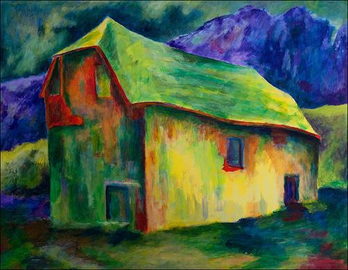 Udo Greiner, Das einsame Haus in den Bergen - Secrets 03/17, Landschaft, Mythologie, Expressionismus
