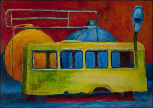 Udo Greiner, Bus Stop - Secrets 07/17, Landschaft, Verkehr, Neo-Expressionismus