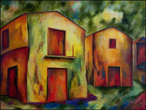 Udo Greiner, Zwei Gelbe Häuser, Landschaft, Bauten: Haus, Expressionismus