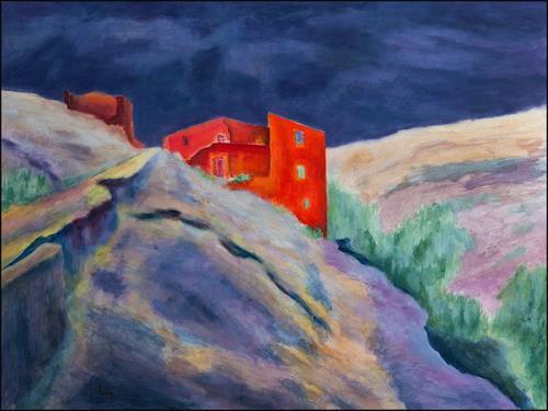 Udo Greiner, Landschaft - P2/18, Landschaft, Bauten, Neo-Expressionismus, Abstrakter Expressionismus