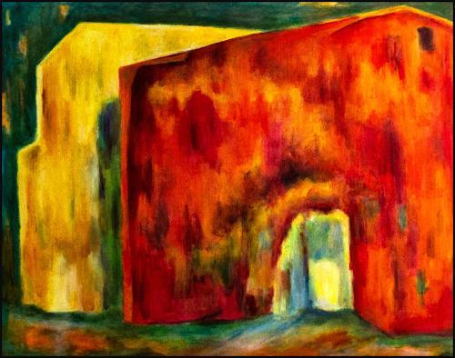 Udo Greiner, Rotes Haus 19, Bauten, Abstraktes, expressiver Realismus, Abstrakter Expressionismus