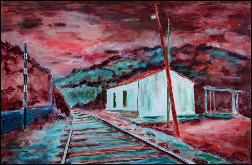 Udo Greiner, Train Stop II, Landschaft, Fantasie, expressiver Realismus