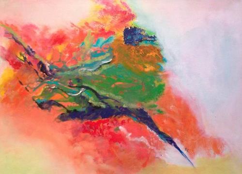 Karin Kraus, Alle Vögel sind schon da..., Landschaft, Tiere: Luft, Abstrakte Kunst