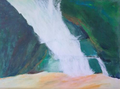 Karin Kraus, Wasserfall, Landschaft, Landschaft, Gegenwartskunst