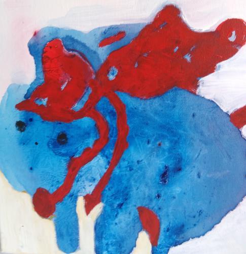 Karin Kraus, Huckepack, Skurril, Fantasie, Abstrakte Kunst, Abstrakter Expressionismus