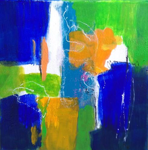Karin Kraus, Blaues Leuchten, Abstraktes, Fantasie, Colour Field Painting