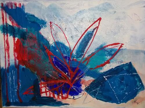 Karin Kraus, Variationen in Blau, Skurril, Abstraktes, Informel, Expressionismus