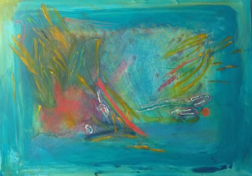 Karin Kraus, Unterwasserwelt II, Abstraktes, Landschaft: See/Meer, Informel