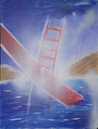 Karin Kraus, Golden Gate Bridge, Abstraktes, Natur: Wasser, Abstrakter Expressionismus