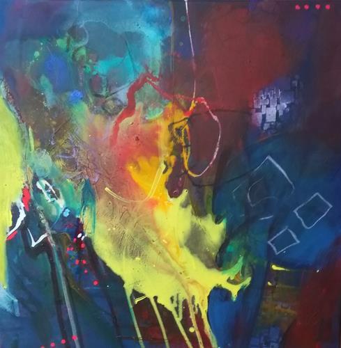 Karin Kraus, Zwischen den Wegen, Abstraktes, Fantasie, Drip Painting, Expressionismus