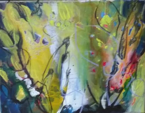 Karin Kraus, Blick ins Innere, Abstraktes, Fantasie, Drip Painting, Expressionismus