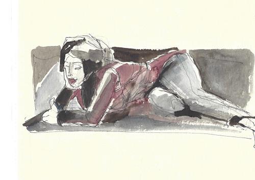 Joan Stephan, Auf dem Sofa, Situationen, Freizeit, Realismus, Expressionismus
