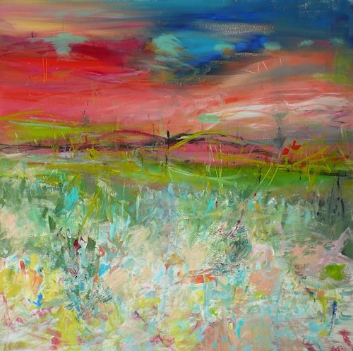 Christel Haag, Blaue Stunde 2, Landschaft: Ebene, Gegenwartskunst, Expressionismus