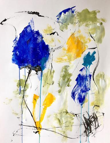 Christel Haag, Rhapsody in Blue und Yellow 3, Abstraktes, Gegenwartskunst