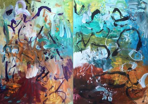 Christel Haag, You Are Always on My Mind (Diptych), Abstraktes, Fantasie, Gegenwartskunst