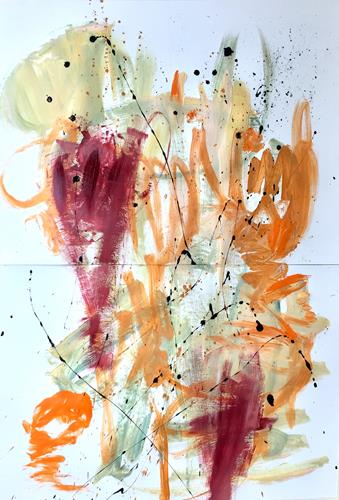 Christel Haag, Garten Meditation (Diptychon), Abstraktes, Gegenwartskunst