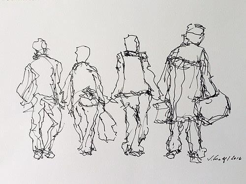 Susanne Wolf, Menschen auf der Durchreise, Menschen: Gruppe, Gegenwartskunst, Abstrakter Expressionismus