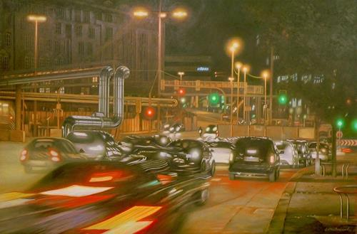 Richard Mierniczak, Stuttgart 21 - Rush hour, Diverse Landschaften, Bewegung, Gegenwartskunst, Abstrakter Expressionismus