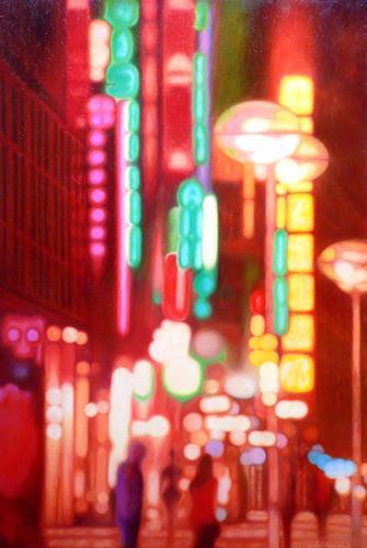 Richard Mierniczak, Stuttgart at night, Diverse Landschaften, Abstraktes, Gegenwartskunst, Abstrakter Expressionismus