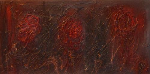 Barbara Zucker, Rote Blumenkreise, Pflanzen, Moderne
