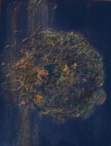 Barbara Zucker, Struktur Blau/Gold, Fantasie, Moderne