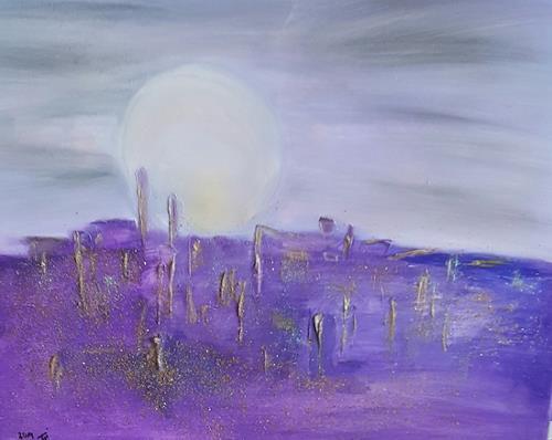Barbara Zucker, Violett City, Fantasie, Abstrakte Kunst