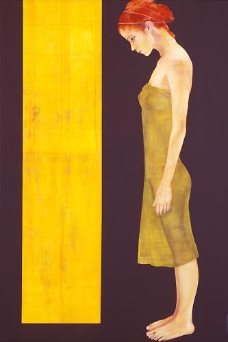 Thomas Thüring, Die Tür in Gelb, Menschen: Frau, Symbol, Gegenwartskunst, Expressionismus