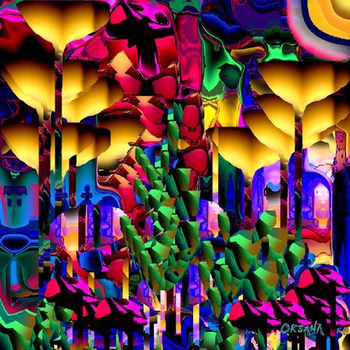 oksana linde, Bosque Brillante, Fantasie, Natur, Neuzeit, Abstrakter Expressionismus