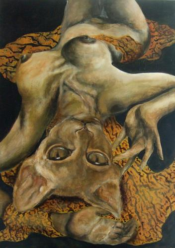 Eva Vogt, Katze in Frau, Tiere, Fantasie, Gegenwartskunst, Abstrakter Expressionismus