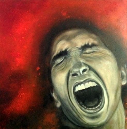 Eva Vogt, SCHREI, Menschen: Mann, Menschen: Gesichter, Gegenwartskunst, Abstrakter Expressionismus