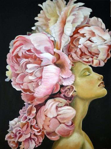 Eva Vogt, Päonien 4, Skurril, Gegenwartskunst, Expressionismus