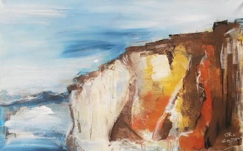 Stefanie Rogge, Stå pa toppen af Klinten II, Landschaft: See/Meer, Natur: Gestein, Abstrakter Expressionismus, Expressionismus
