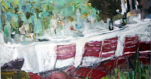 Mila Plaickner, Gartenparty, Party/Feier, Gesellschaft, expressiver Realismus, Expressionismus