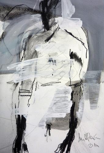 Mila Plaickner, Stehen, Menschen, Menschen, expressiver Realismus, Abstrakter Expressionismus