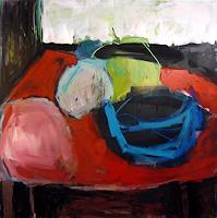 Mila Plaickner, Stilleben, Früchtekorb, Abstrakt