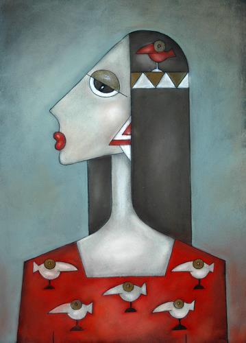 ninaboosart, Federkleid, Menschen: Frau, Diverse Tiere, Moderne, Abstrakter Expressionismus